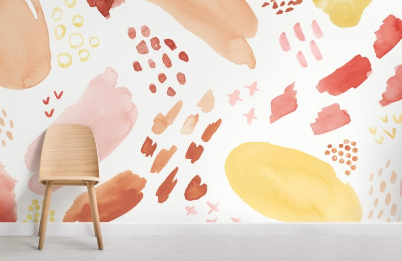 peach and orange abstract watercolor brush marks wallpaper mural