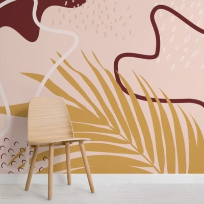peach and yellow abstract tropical collage wallpaper mural