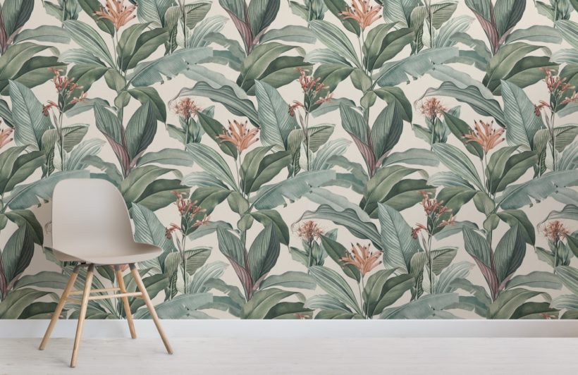 peach chic vintage tropical pattern wallpaper mural