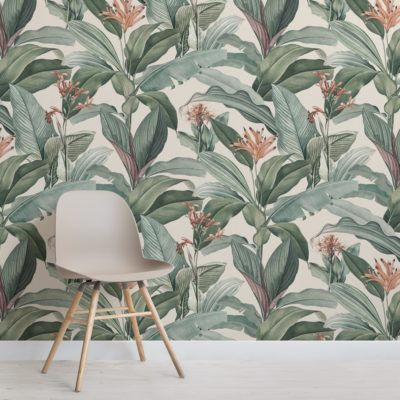 peach chic vintage tropical pattern wallpaper mural