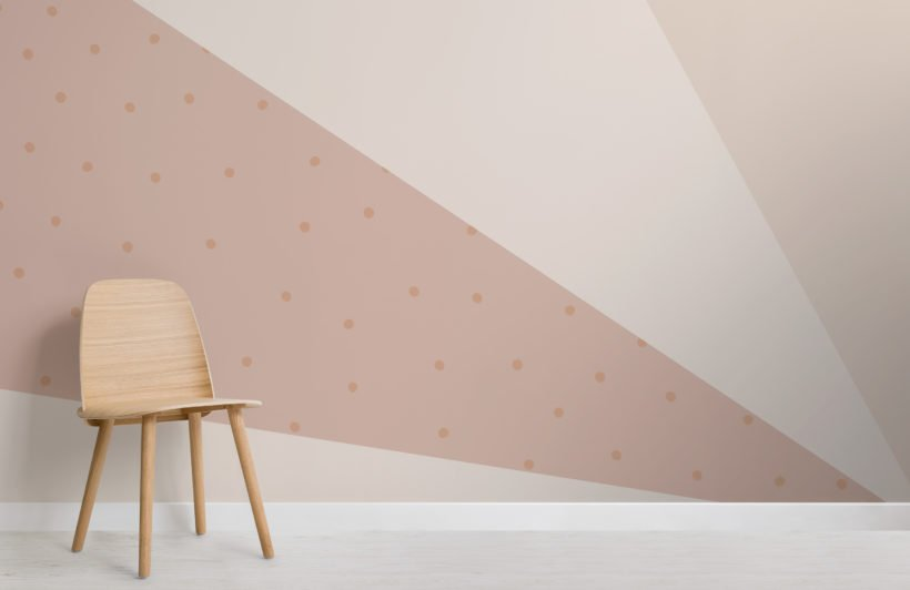 peach & cream pastel geometric rays and dots wallpaper mural