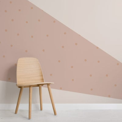 peach & cream pastel geometric rays and dots wallpaper mural