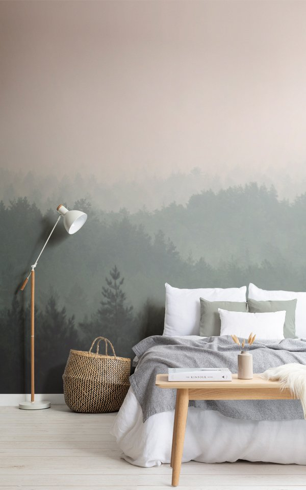 Peach & Green Pastel Ombre Forest Wallpaper Mural Image