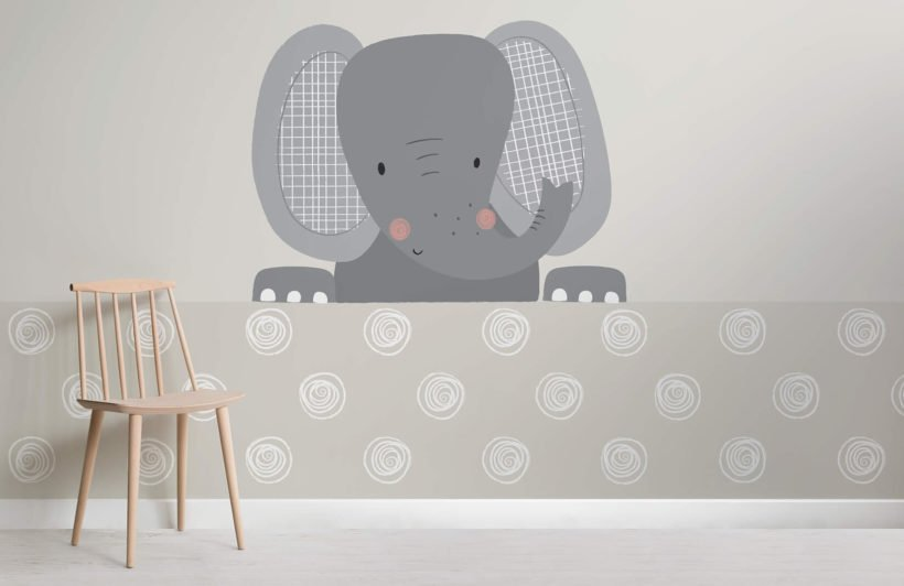 peek a boo ellie-nursery-plain-wall mural
