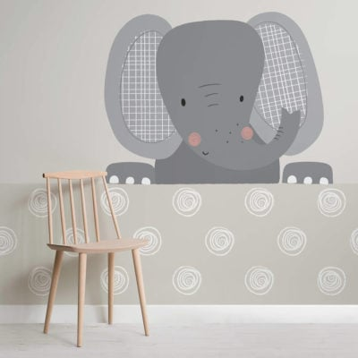 peek a boo ellie-nursery-square-wall mural