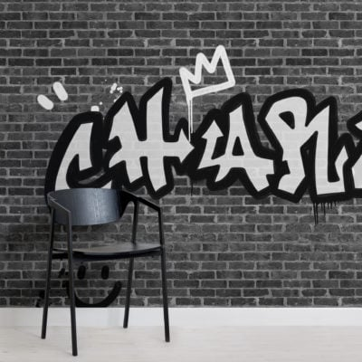 personalised graffiti brick wall wallpaper mural