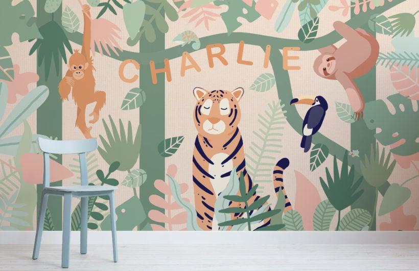 personalised kids cute jungle animals wallpaper mural