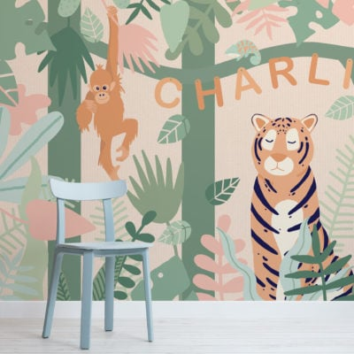 personalised kids cute jungle animals wallpaper mural