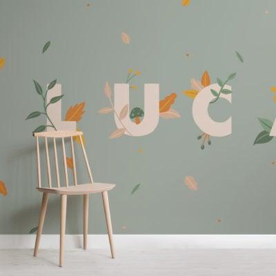 personalised kids green nature custom name wallpaper mural