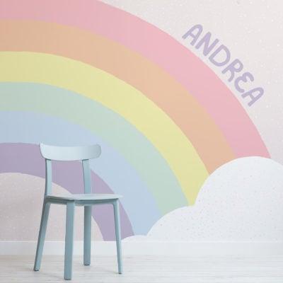 personalised kids pastel rainbow wallpaper mural