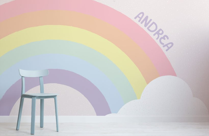 personalised kids pastel rainbow wallpaper mural
