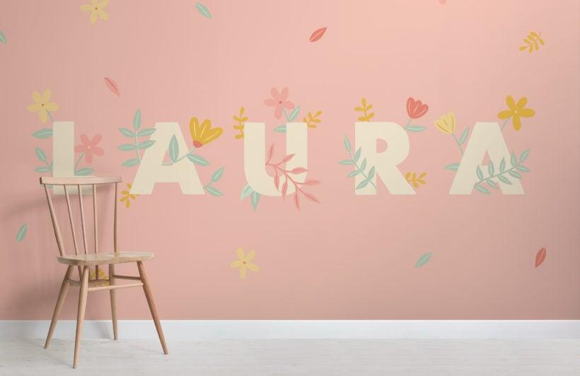 personalised kids pink flowers custom name wallpaper mural