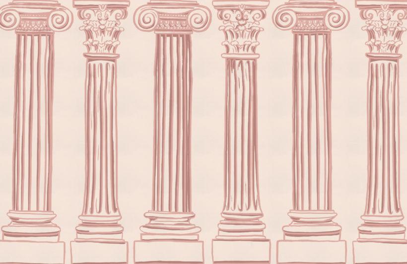 pink ancient greek columns wallpaper mural-Square
