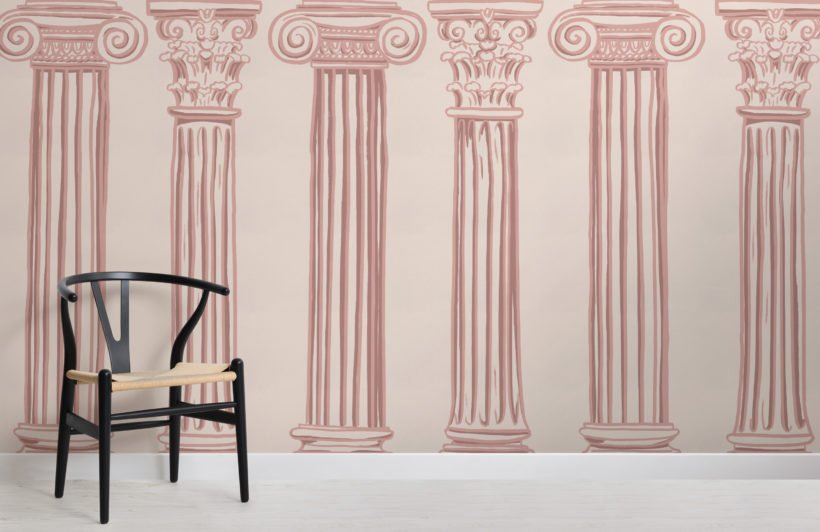 pink ancient greek columns wallpaper mural-Square