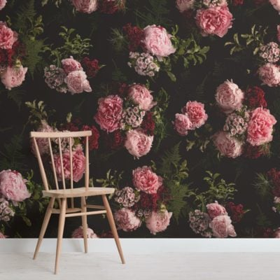 pink and black dark moody pattern floral wallpaper mural