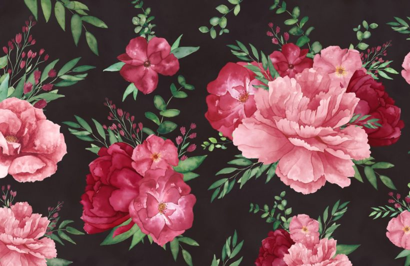 pink-and-black-dark-watercolour-floral-print-wallpaper-mural