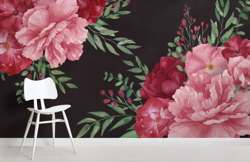 pink-and-black-large-watercolour-floral-wallpaper-mural