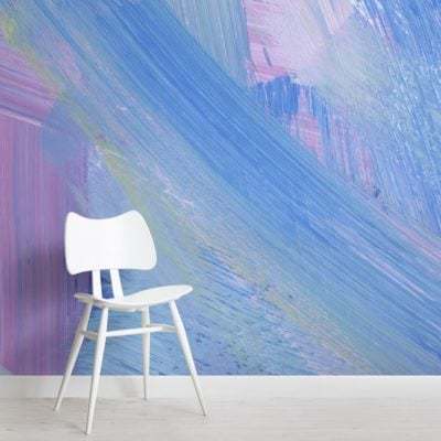 pink and blue abstract paint brush strokes wallpaper mural