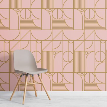 Pink and Gold Geometric Grid Lines Repeat Pattern Wallpaper Image