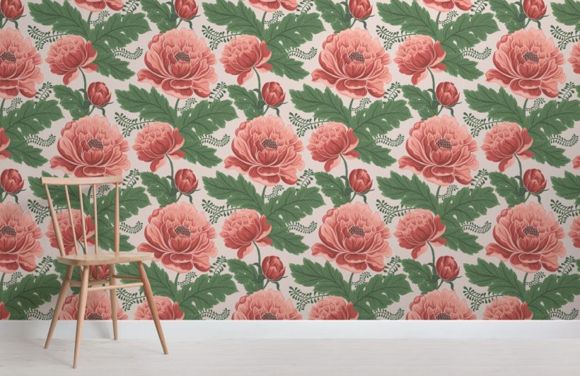 pink-and-green-heritage-floral-pattern-wallpaper-mural