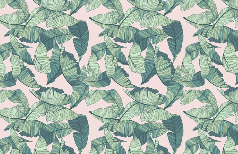 pink-and-green-tropical-leaf-design-plain-wall-murals