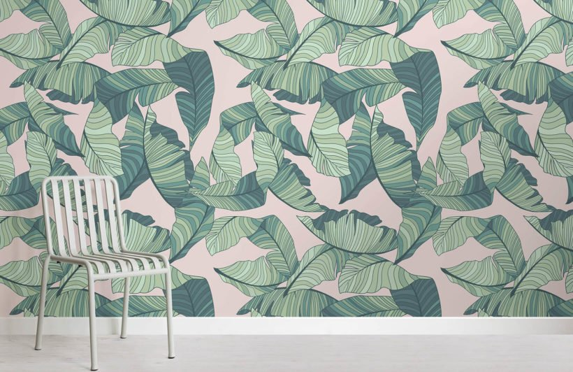 pink-and-green-tropical-leaf-design-room-wall-murals