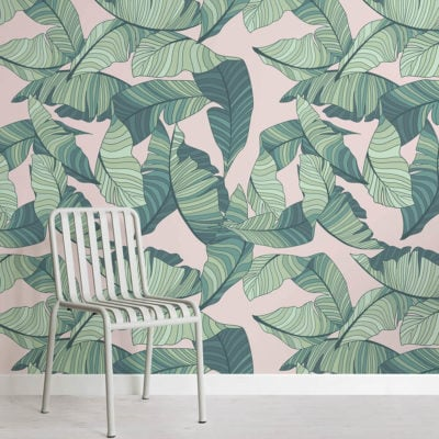 pink-and-green-tropical-leaf-design-square-wall-murals