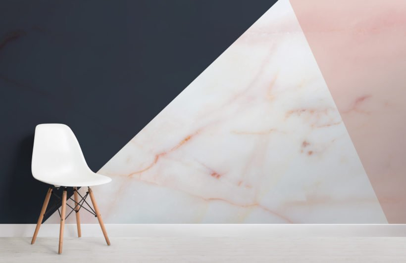 pink and navy blue marble geometric wallpaper mural