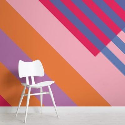pink and orange bold geometric stripes wallpaper mural