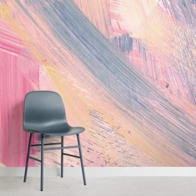pink and peach abstract paint brush strokes wallpaper mural
