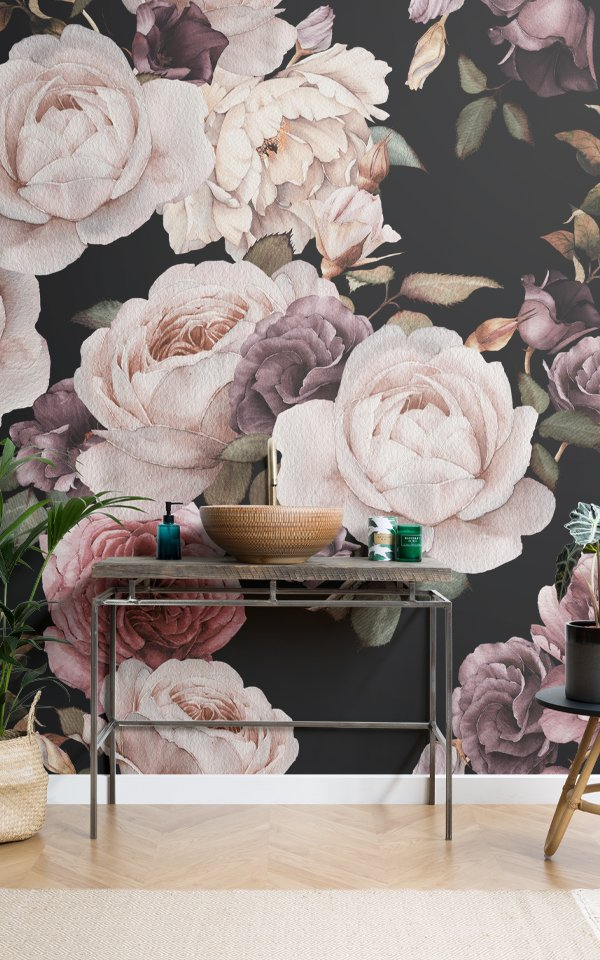Purple & Pink Dark Floral Wallpaper Mural Image