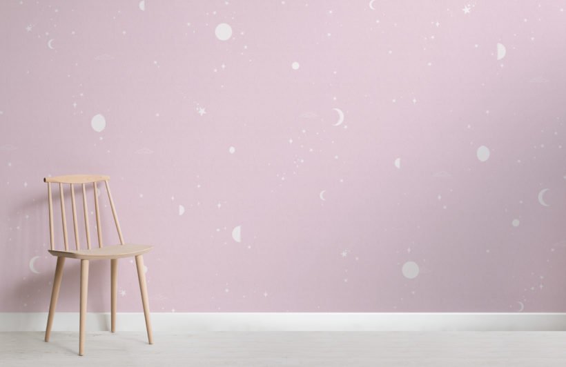 pink and white moon & stars wallpaper mural