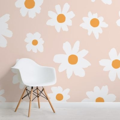 pink and white retro daisy floral wallpaper mural