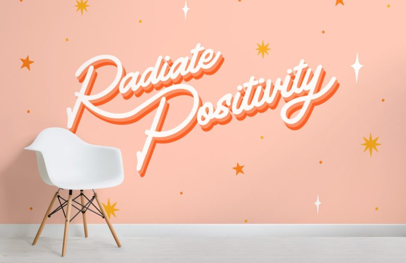 pink and white stars typography quote wallpaper mural