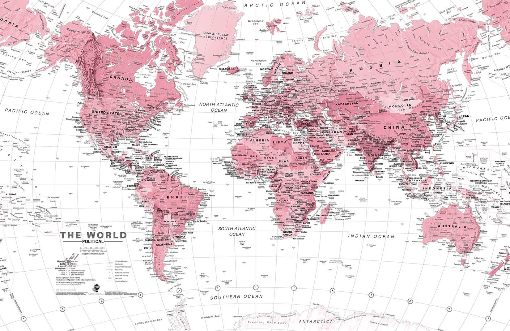 Cartina Yemen.Carta Da Parati Con Mappa Del Mondo Rosa E Bianca Hovia It