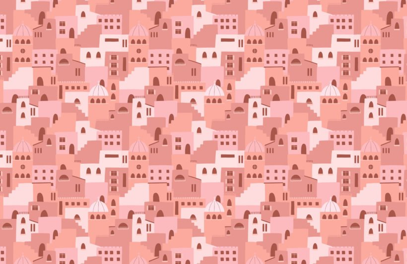 pink architecture house pattern wallpaper mural