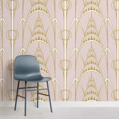 pink-art-deco-chrysler-architectural-pattern-wallpaper-mural