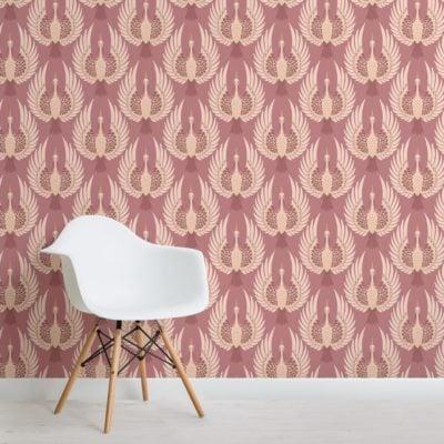 pink art deco crane pattern wallpaper mural