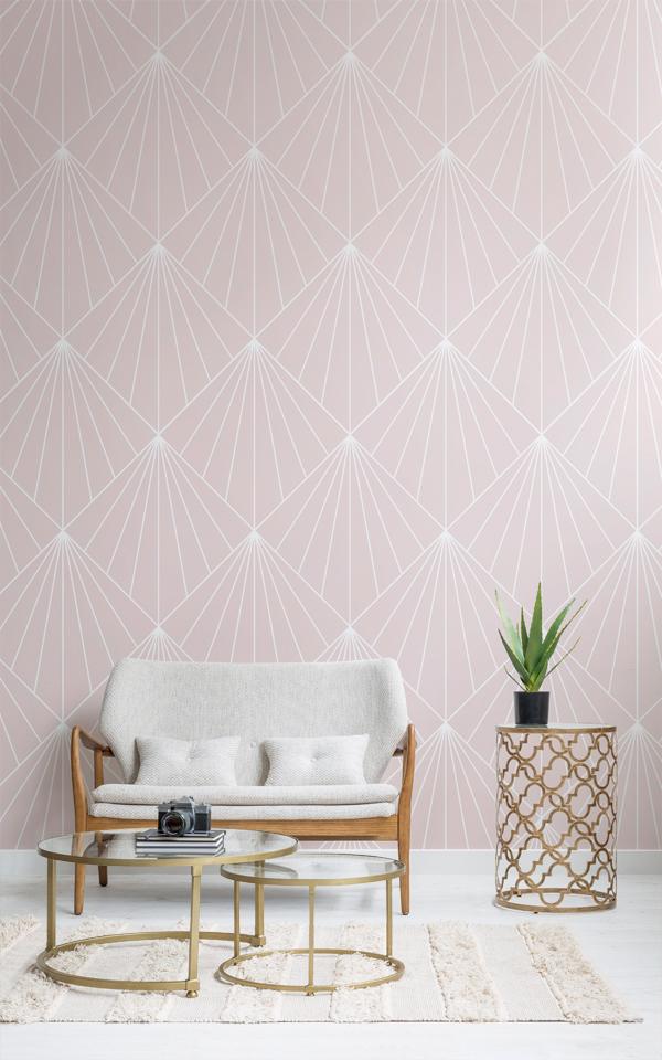 Crawford Pink Art Deco Wallpaper Mural Image