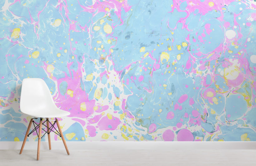 pink & blue pastel marbled wallpaper mural