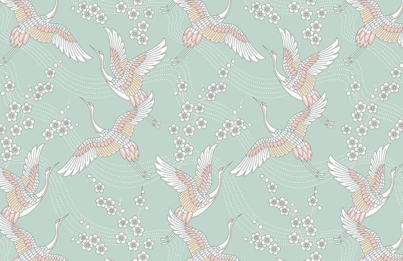 pink-cranes-oriental-collection-plain