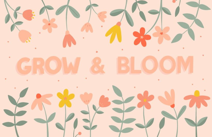 pink floral typography quote wallpaper mural
