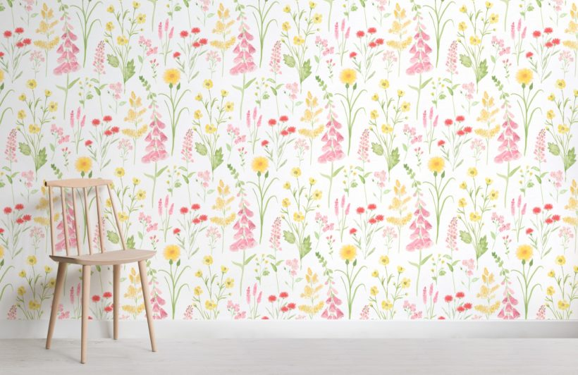 pink foxglove and forget me not flower garden wallpaper mural