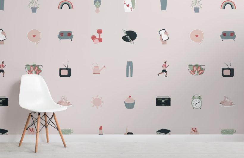 pink illustrated wellness emoji pattern wallpaper mural