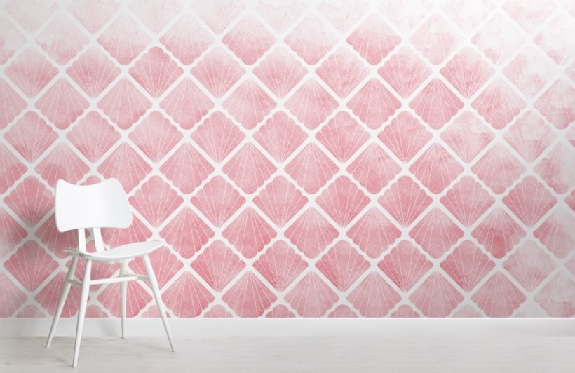 pink-mermaid-scale-seashell-wallpaper-mural