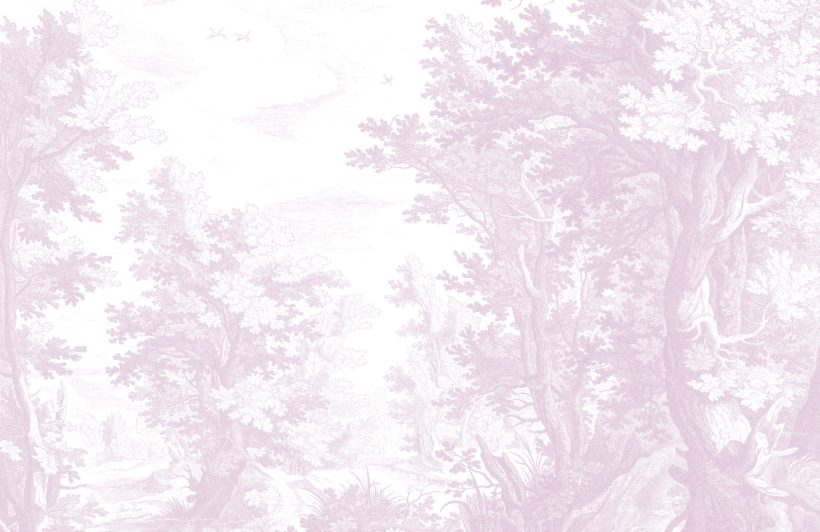 pink minimal forest illustration etching wallpaper mural
