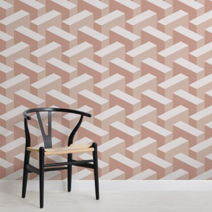 Pink Modern 3D Effect Geometric Repeat Pattern Wallpaper Image