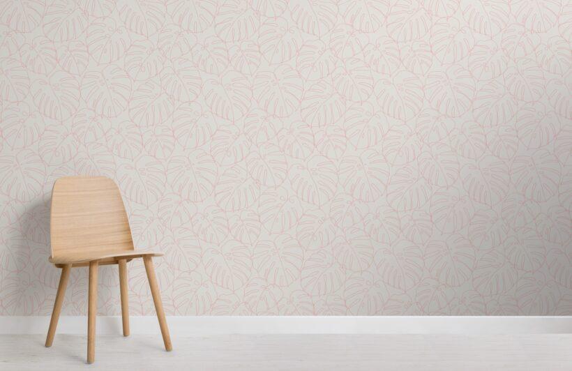 pink-monstera-leaf-line-drawing-repeat-pattern-wallpaper