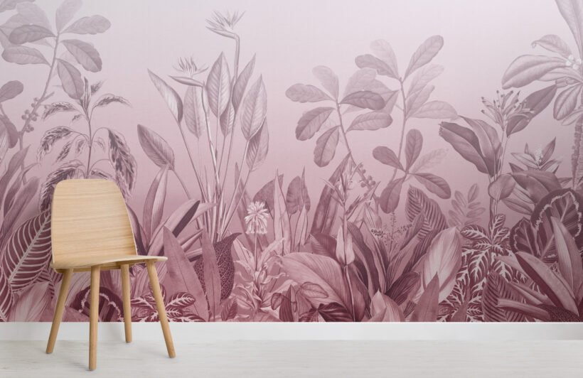 pink-ombre-tropical-jungle-landscape-wallpaper-mural