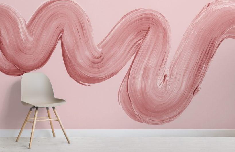 pink paint brush stroke squiggle wallpaper mural